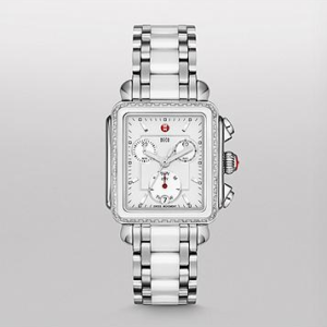 DECO WHITE CERAMIC DIAMOND WATCH