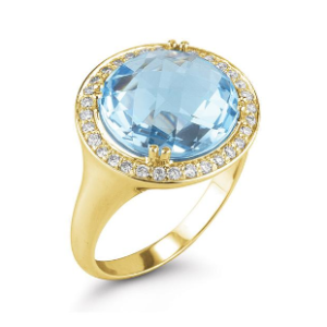 14K-Y S.P. COLOR STONE RING, 0.45CT