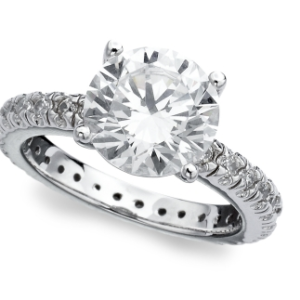 CRISLU CUBIC ZIECONIA SOLITAIRE RING WITH SIDE ACCENTS-398