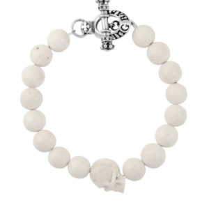 KING BABY WHITE CORAL BEAD BRACELET WITH BONE SKULL AND SILVER CLASP