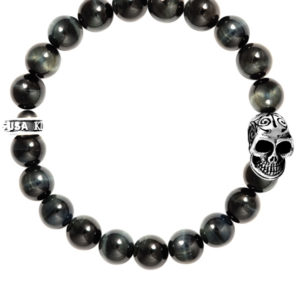 KING BABY BLUE TIGER EYE BRACELET WITH DAY OF THE DEAD SKULL