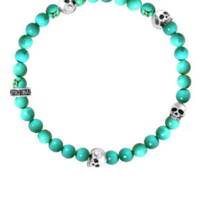 KING BABY TURQUOISE BEAD BRACELET WITH 4 SKULLS