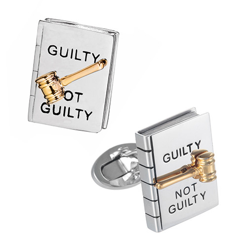 JAN LESLIE GUITLY OR NOT GUILTY SPINNER CUFFLINKS