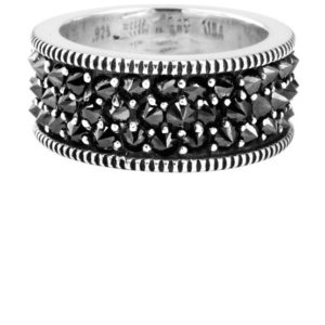 KING BABY WIDE BAND WITH REVERSE SET BLACK CZ