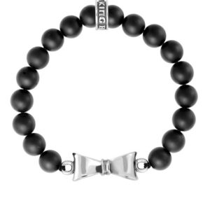 KING BABY ONYX BEAD BRACELET WITH BOW