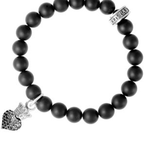 KING BABY ONYX BEAD BRACELET WITH PAVE BLACK CZ BABY CROWNED HEART