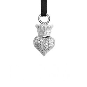 KING BABY MINI PAVE CZ CROWNED HEART PENDANT ON LEARTHER CORD