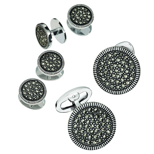 JAN LESLIE ROUND MARCASITE TUXEDO FORMAL SET - CUFF LINKS AND STUDS