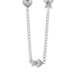 KING BABY 3D CZ PAVE CROWNED HEARTS ON CURB NECKLACE