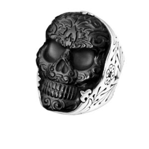 KING BABY CARVED JET BAROQUE SKULL RING