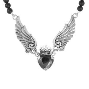 KING BABY CROWNED BLACK CZ HEART ONYX BEAD NECKLACE