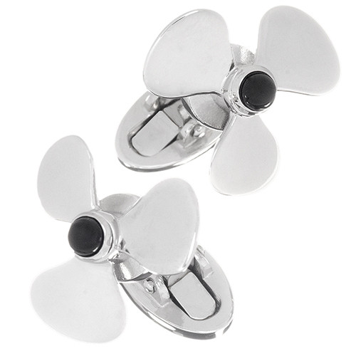 JAN LESLIE SPINNING PROPELLER CUFFLINKS WITH ONYX CENTER