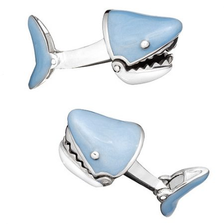 JAN LESLIE MOVING SHARK JAW CUFFLINKS