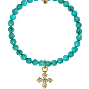 KING BABY TURQUOISE BEAD BRACLET WITH VERMEIL PAVE CROSS