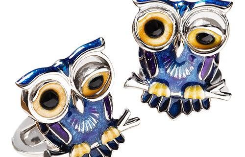 JAN LESLIE ENAMEL WINKING OWL CUFFLINKS
