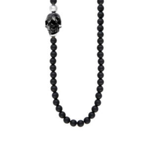 KING BABY ONYX BEAD NECKLACE JET SKULL