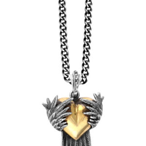 KING BABY ALLOY HEART PENDANT WITH SILVER RAVEN WINGS
