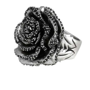 KING BABY ROSE RING WITH BLACK CZ