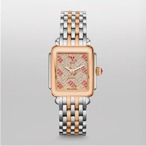 MICHELE DECO 16 DIAMOND TWO TONE ROSE GOLD, PINK TOPAZ AND DIAMOND DIAL WATCH