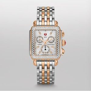 MICHELE SIGNATURE DECO DIAMOND TWO-TONE ROSE GOLD, DIAMOND DIAL WATCH