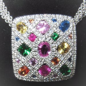Multi color Diamond and Sapphire Necklace