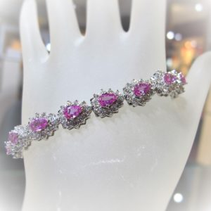 Pink Sapphires and Diamond Bracelet