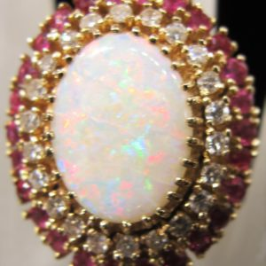 10 KT Yellow Gold 3.66 CT Opal Ring with .91 CT tw Pink Topaz and .66 CT tw Diamonds