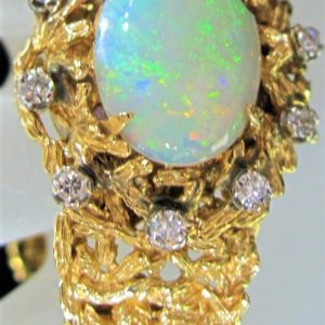 Estate 14 KT Yellow Gold 5-6 CT Opal Bracelet with Diamonds