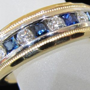 14 KT White and Yellow Gold Band with 1/4 CT tw Diamonds and 1/2 CT tw Sapphires