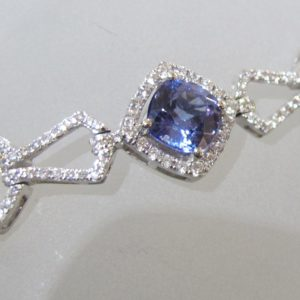 14 KT White Gold Bracelet with 6.14 CT tw Tanzanite and 2.40 CT tw Diamonds