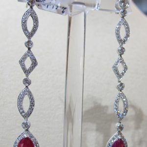 Platinum Earrings with 2.61 CT tw Diamonds and 3.84 CT tw Rubies