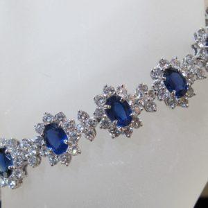 Platinum Bracelet with 9.96 CT tw Diamonds and 13.62 CT tw Sapphires