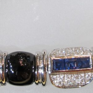 Estate 18 KT White Gold Bracelet with 2 CT tw Diamonds and 3 CT tw Sapphires and Onyx