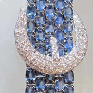 18 KT White Gold Bracelet with 54.59 CT tw Sapphires and 1.70 CT tw Diamonds