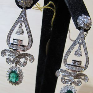 Estate 18 KT White Gold Chandelier Earrings with 5.75 CT tw Diamonds and 2.67 CT tw Emeralds