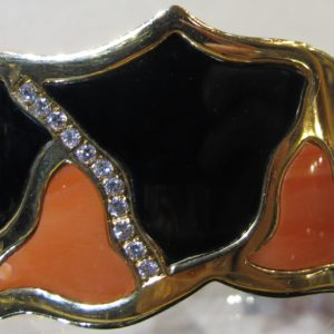 18 KT Yellow Gold Bangle with Onyx and Coral also with .25 CT tw Diamonds (Pre-Owned)