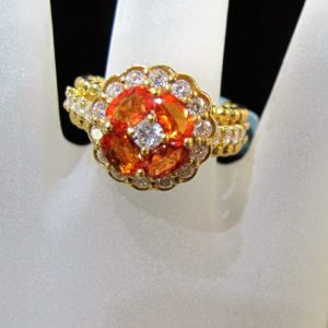 18 KT Yellow Gold Ring with .97 CT tw Orange Sapphire and 1.06 CT tw Diamonds