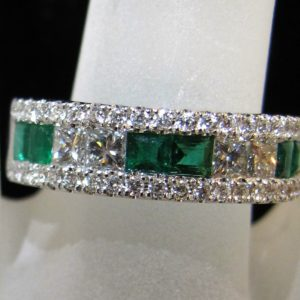 18 KT White Gold Ring with .78 CT tw Diamonds and .64 CT tw Emeralds