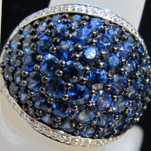 14 KT White Gold Ring with 4.15 CT tw Sapphires and Diamonds