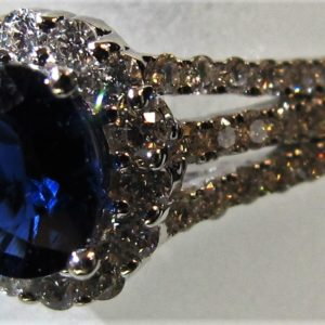 14 KT White Gold Ring with .46 CT tw Diamonds and 7/8 CT tw Sapphire