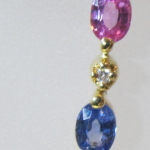 18 KT Yellow Gold Bracelet with Diamonds and Multi-Colored Sapphires (Pre-Owned)