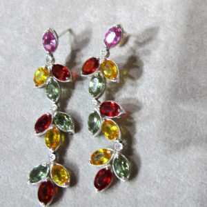 18 KT White Gold Chandelier Earrings with Multi-Colored Sapphires (Pre-Owned)