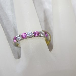 """""""Tiffany"""" Ring-Band set in Platinum Featuring .25 CT tw Diamonds and .40 CT tw Pink Sapphires (Pre-Owned)"""