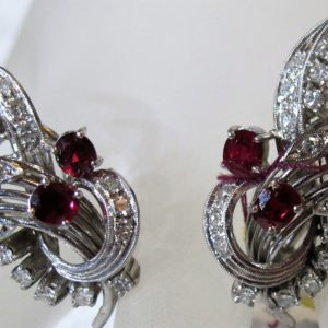 18 KT White Gold Earrings with 1.28 CT tw Rubies and .50 CT tw Diamonds
