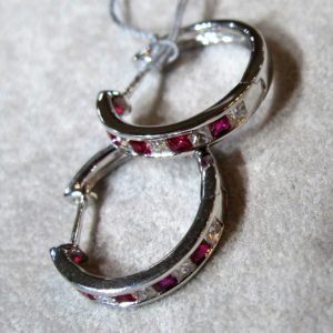 18 KT White Gold Hoop Earrings with 1/2 CT tw Diamonds and Rubies