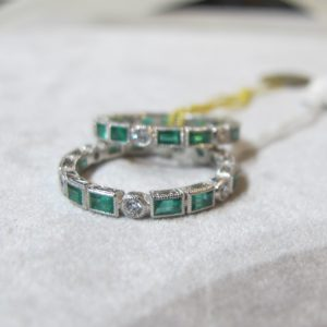 2 Platinum Bands with Emeralds and Diamonds