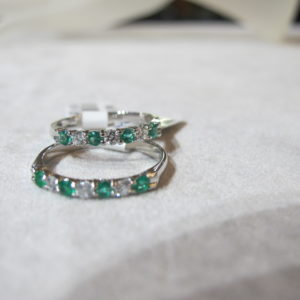 2- 14 KT White Gold Bands with Emeralds and Diamonds