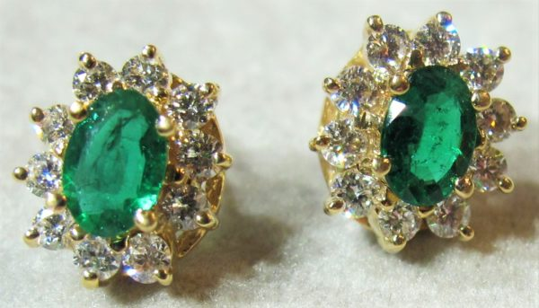 14 KT Yellow Gold Earrings with .61 CT tw Diamonds and Emeralds
