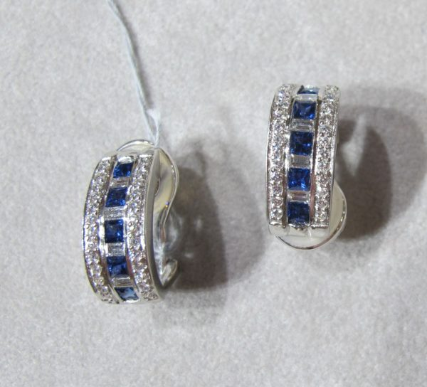 Platinum Earrings with .72 CT tw Diamonds and 1.16 CT tw Sapphires