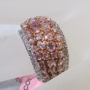 18 KT White Gold Ring with Natural Color Pink and White Diamonds